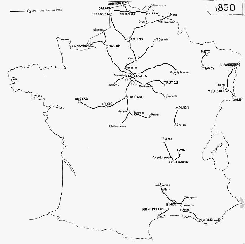 Carte France 1850 Carte de 1850
